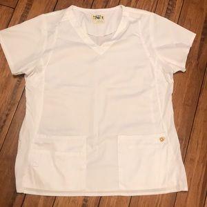 Wonder wink white scrub top